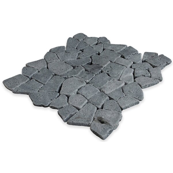 Fit Random Sized Natural Stone Pebble Tile in Black by Pebble Tile