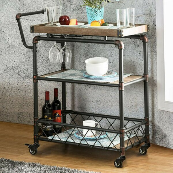 Serina Industrial Bar Cart by 17 Stories