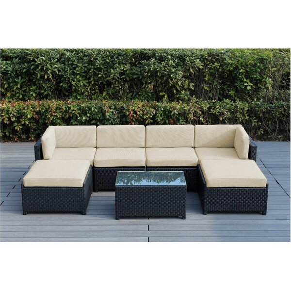 Brough 7 Piece Rattan Sectional Seating Group with Cushions by Longshore Tides