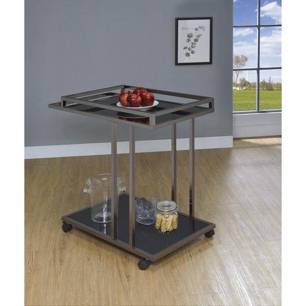 Player 2 Tier Metal and Glass Bar Carts by Red Barrel Studio