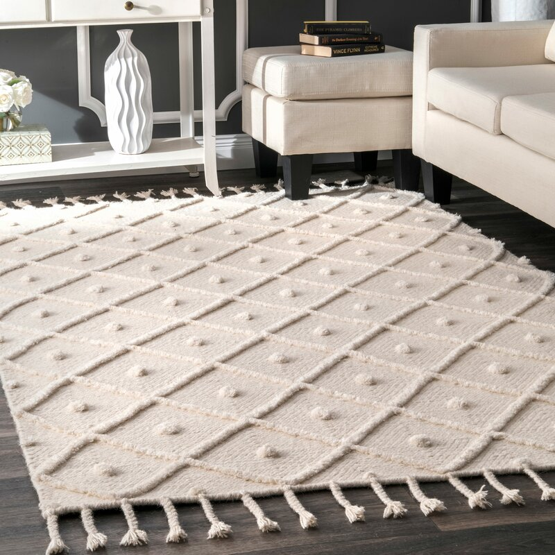 Union Rustic Whigham Hand Woven Off White Area Rug Reviews Wayfair Ca