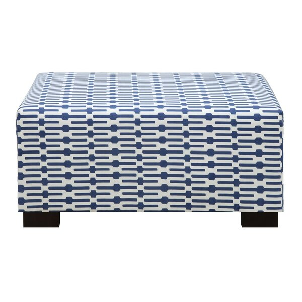 Farfan Blue And White Ottoman by Wrought Studio