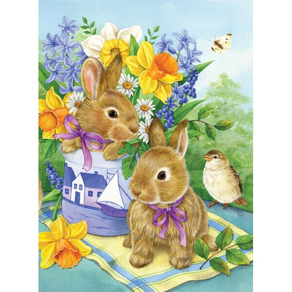 Bunny Bouquet 2-Sided Garden flag by Toland Home Garden