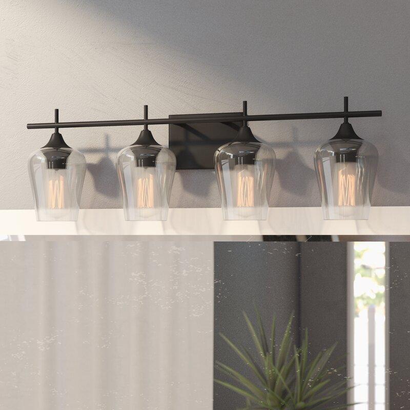 4 light vanity light black staci 4light vanity light zipcode design reviews wayfair