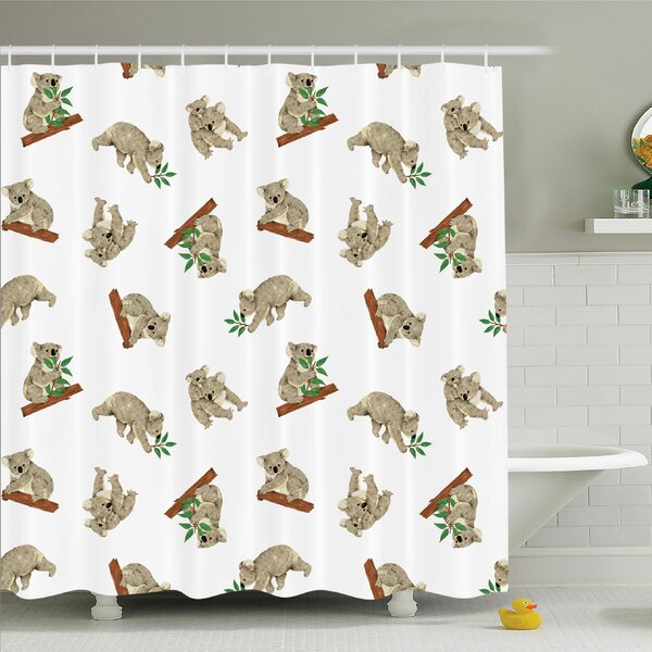 Animal Baby Koala Fun Shower Curtain Set by Ambesonne