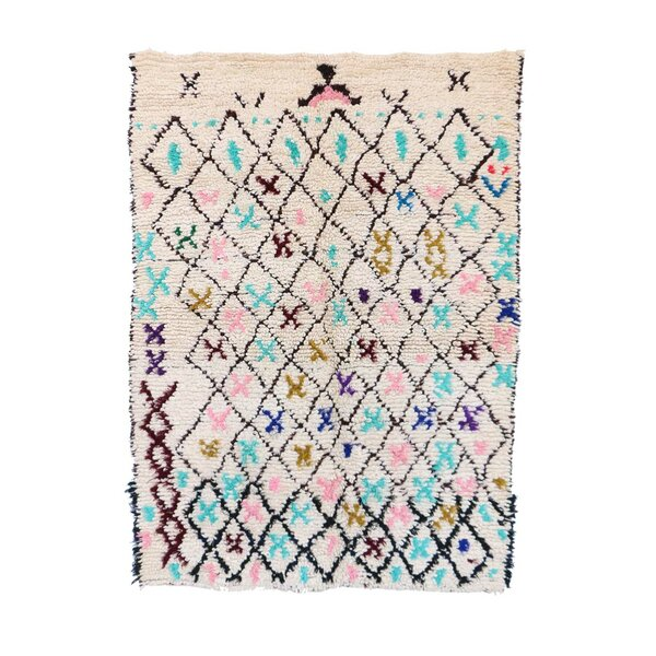 One-of-a-Kind Azilal Moroccan Hand-Knotted Wool Cream/Blue Area Rug by Indigo&Lavender