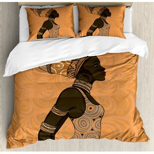 Home Textile Beautiful African Woman Duvet Cover Set Afro Female Young Beauty Traditional Hair Dress Turban Ornate Decorative 4 Piece Bedding Set Bedding Sets
