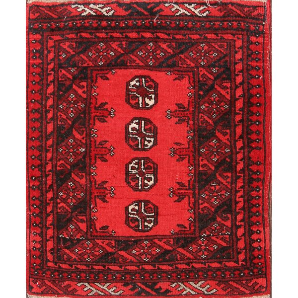 Swearingen Balouch Oriental Hand-Knotted Wool Red/Burgundy Area Rug by Bloomsbury Market