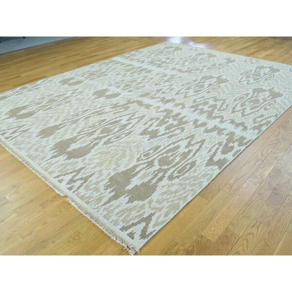 One-of-a-Kind Briele Ikat Design Soumak Handwoven Ivory Wool Area Rug by Isabelline