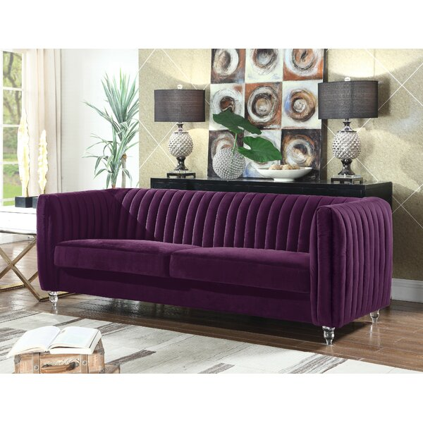 Web Purchase Kolby Velvet Channel Quilted Turned Leg Sofa Deals on