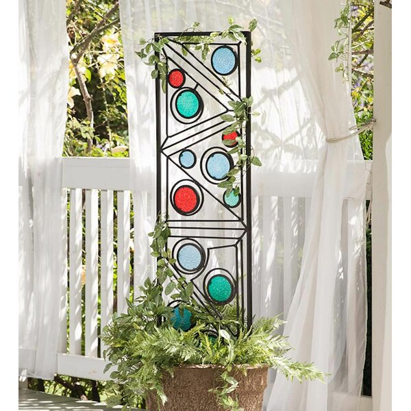 Metal and Glass Garden Geometric Trellis by Wind & Weather