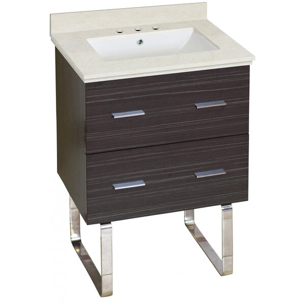 Kyra Modern 24 Single Bathroom Vanity Set with Marble Top by Orren Ellis