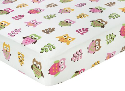Night Owl Print Fitted Crib Sheet by Sweet Jojo Designs