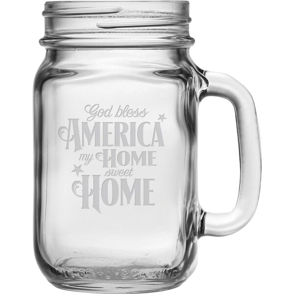 God Bless America 16 oz. Drinking Jar (Set of 4) by Susquehanna Glass