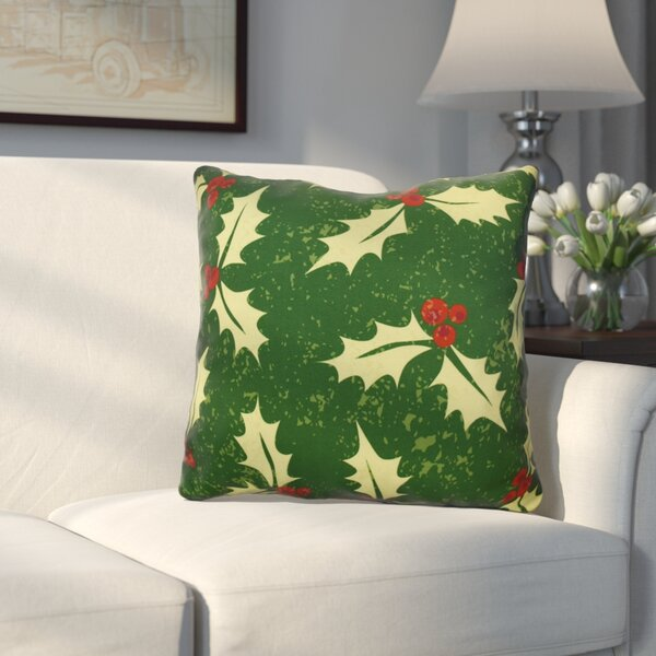 Decorative Holiday Floral Print Outdoor Throw Pillow by Three Posts