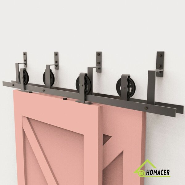 Bend T-Shape Black Wheel Barn Door Hardware by Homacer