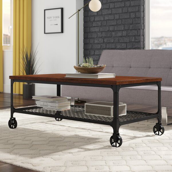 Alpert Industrial Coffee Table with Tray Top by Williston Forge
