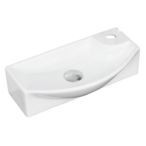 Ceramic 18 Wall Mount Bathroom Sink with Faucet AMIM3857