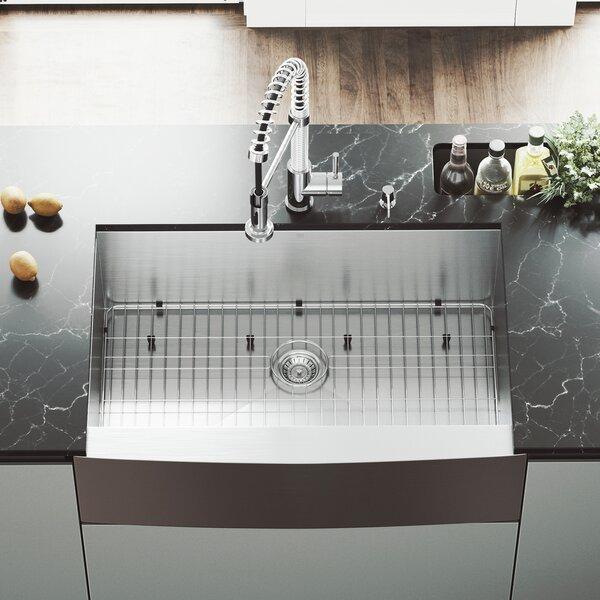 33 L x 22.25 W Single Bowl 16 Gauge Farmhouse Kitchen Sink with Edison Faucet, Grid, Strainer and Soap Dispenser by VIGO