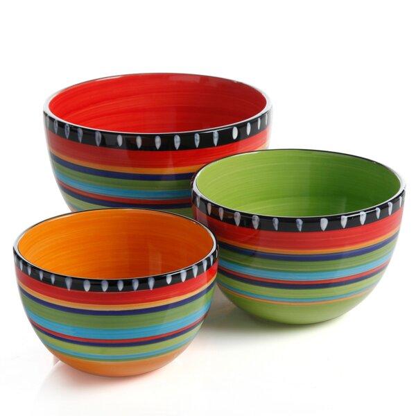 Pueblo Springs 3 Piece Stoneware Mixing Bowl Set by Gibson