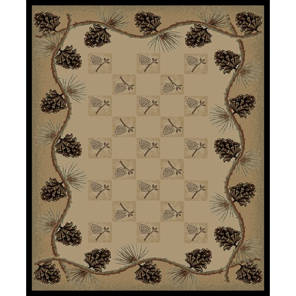 Lodge King Pine Bluff Cabin Ivory Area Rug by Mayberry Rug