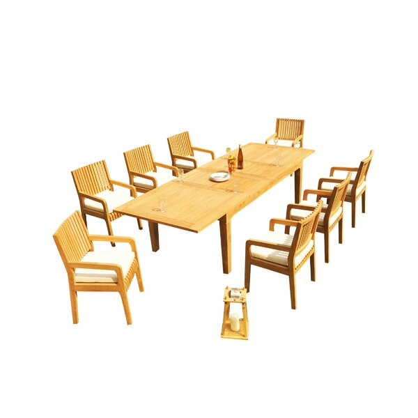 Matamoros 9 Piece Teak Dining Set by Rosecliff Heights