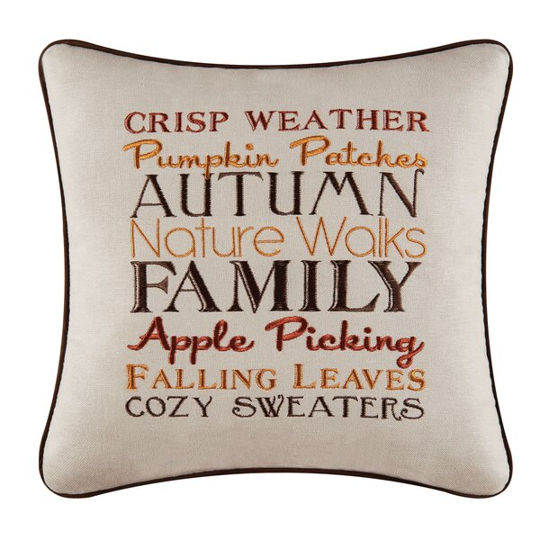 Suzy Autumn Crisp Weather Embroidered Throw Pillow by Red Barrel Studio