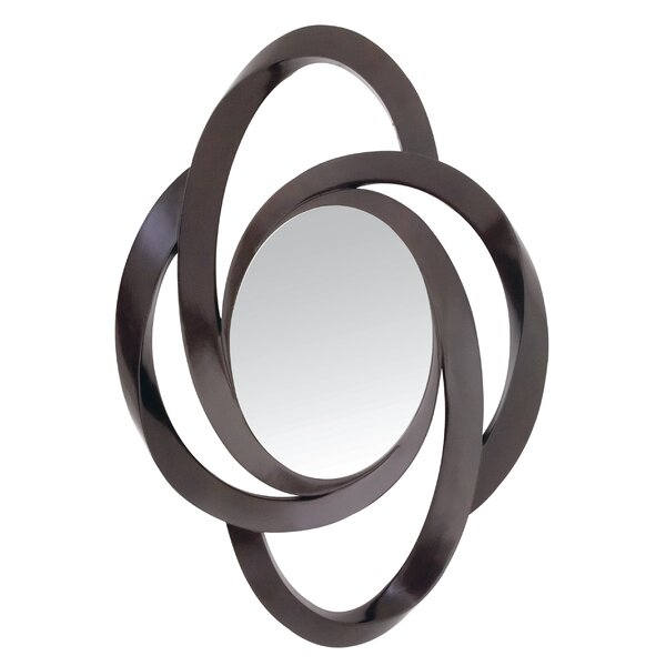 Trendy Dark Brown Contemporary Curvy Hanging Wall Mirror by Majestic Mirror