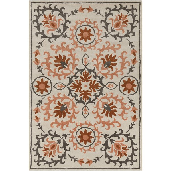 Inara Hand Tufted Wool Peach/Cream Area Rug by Bungalow Rose