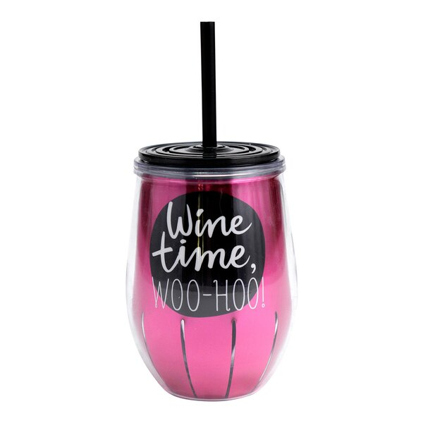 Hendrix Wine Time Woo Hoo 11 oz. Plastic Travel Tumbler by Hallmark