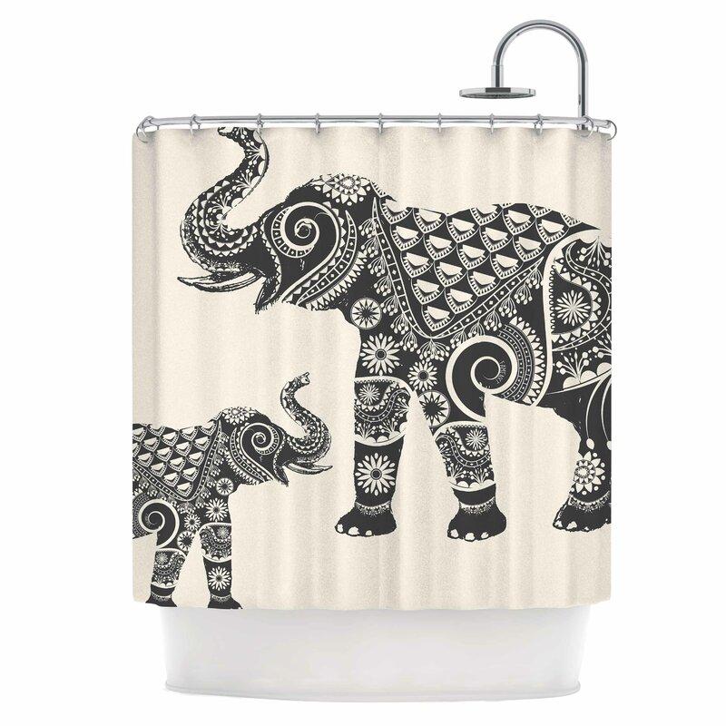 Indian Elephant Boho Shower Curtain