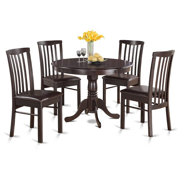 Travis 5 Piece Solid Wood Dining Set by August Grove August Grove