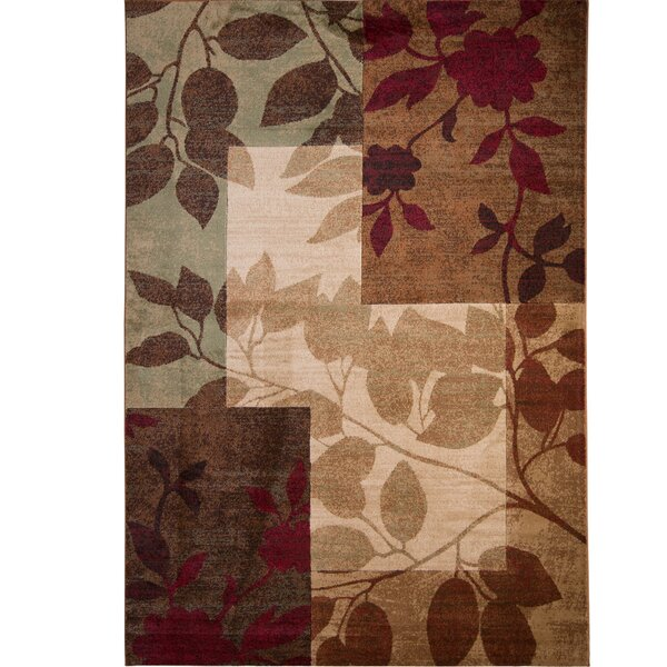 Raffin Beige/Brown Leaves Area Rug by Andover Mills