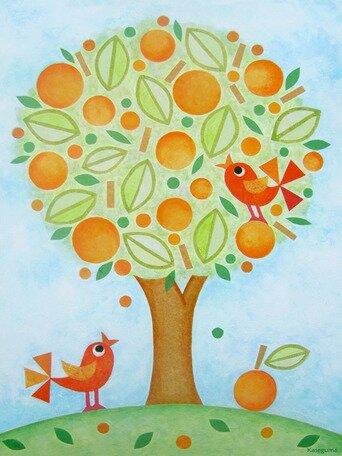 Orange Tree Canvas Art by Oopsy Daisy