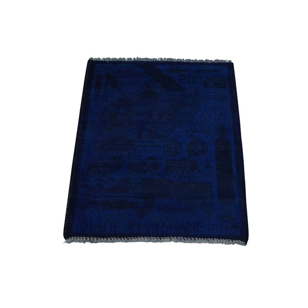 One-of-a-Kind Guns and Tanks Afghan War overdyed Hand-Knotted Blue Area Rug by 1800GETARUG