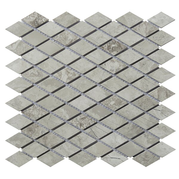 12 x 12.5 Limestone Diamond Natural Stone Blend Mosaic Tile in Gray by Intrend Tile