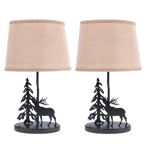 Metal Burlap Shade Elk 19 Table Lamp (Set of 2) by DEI