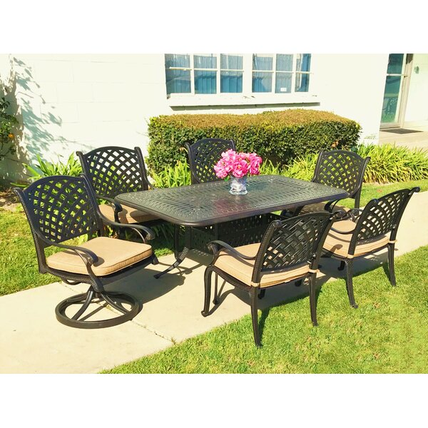 Wachtel 7 Piece Sunbrella Dining Set with Cushions by Darby Home Co