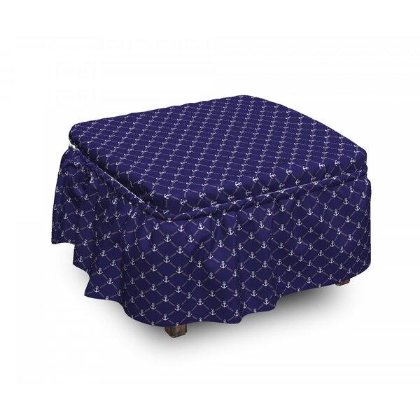 Anchor Chain 2 Piece Box Cushion Ottoman Slipcover Set By East Urban Home