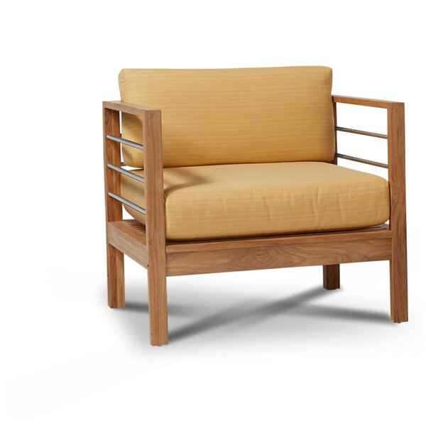 Crisfield Teak Patio Chair with Sunbrella Cushions by Rosecliff Heights