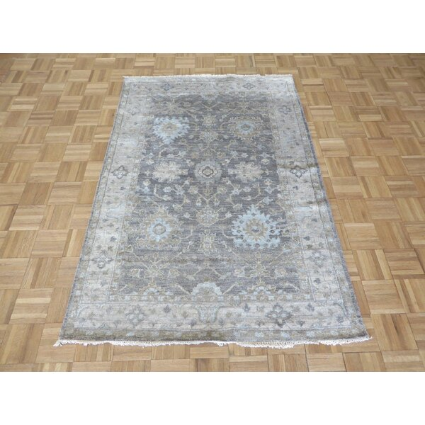 One-of-a-Kind Broadhurst Oushak Hand-Knotted Silk Gray Area Rug by Isabelline