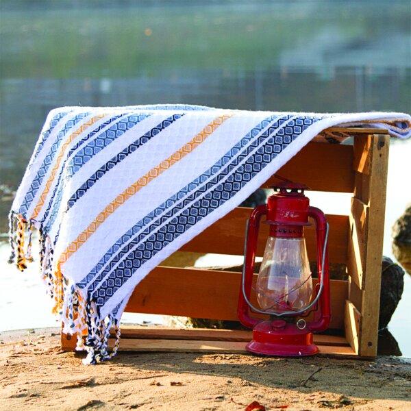 Katrin Woven Cotton Throw Blanket by Highland Dunes