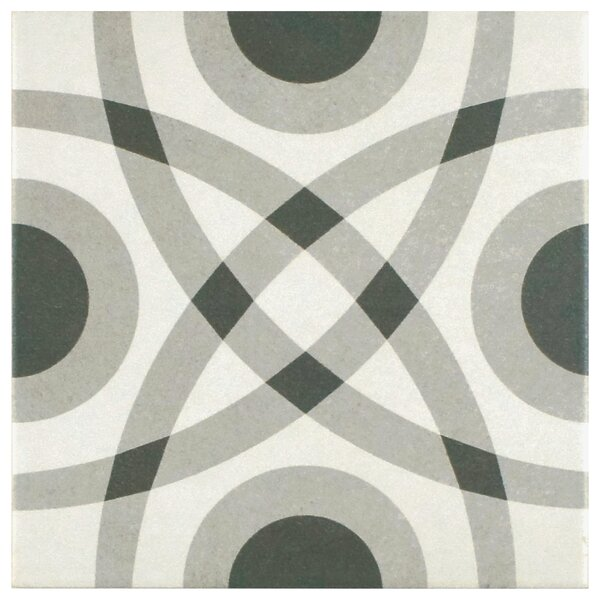 Forties 7.75 x 7.75 Ceramic Field Tile in Circle Gray/White by EliteTile