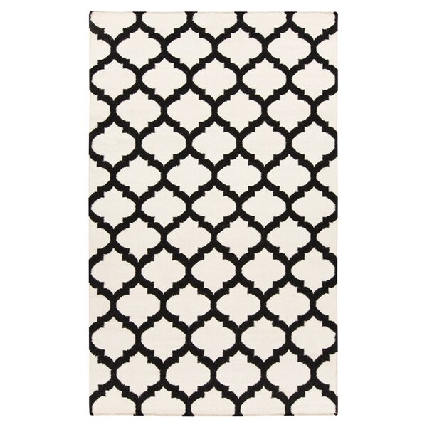 Hackbarth Hand-Woven Black/Ivory Area Rug by Zoomie Kids