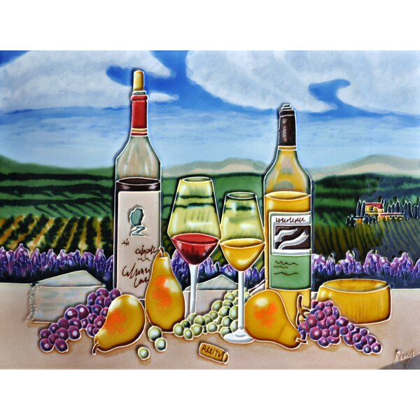 2 Bottle and 3 Pears Tile Wall Decor by Continental Art Center