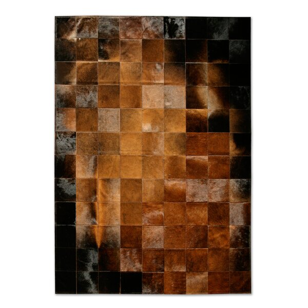 Patchwork Cowhide Park Normand Brown/Black Area Rug by Pure Rugs