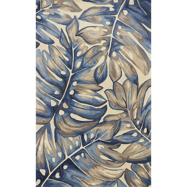 Springwater Palms Hand-Tufted Wool Blue Area Rug by Bay Isle Home