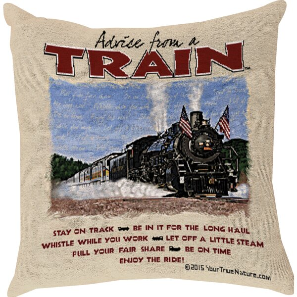Advice from a Train Throw Pillow by Manual Woodworkers & Weavers