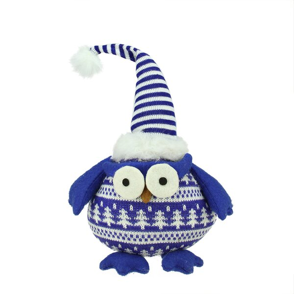 Chubby Plaid Owl with Striped Hat and Winter Sweater Table Top Christmas Figure by Northlight Seasonal