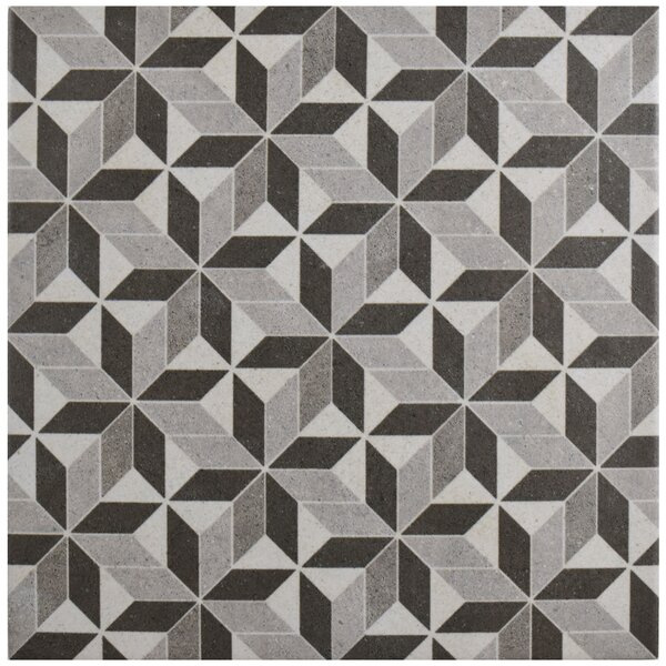 Annata 9.75 x 9.75 Porcelain Field Tile in Gray/Black by EliteTile